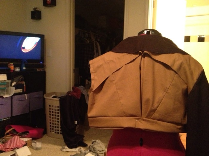 Backside of the muslin. Yes, my apartment is a mess. And yes, I am watching Sailor Moon in this pic.