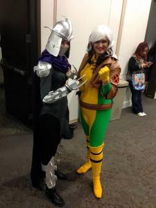 Me and Anna, a.k.a GlitzyGeekGirl. Isn't her Lady Shredder awesome?