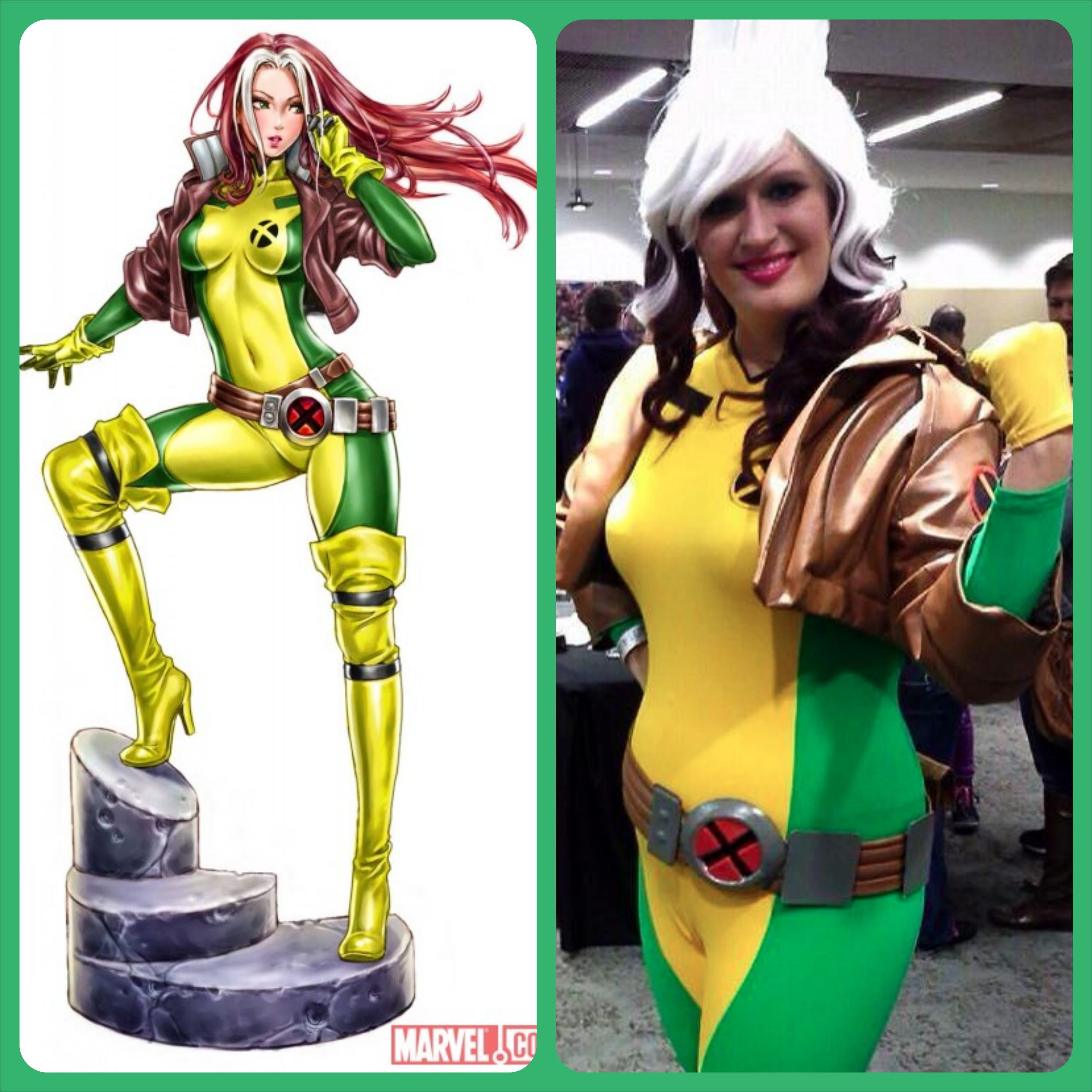 Side-by-side shot of the reference image and my costume.  sc 1 st  The Geeky Seamstress & Costume Notes: Rogue (Kotobukiya Statue Version) u2013 The Geeky Seamstress