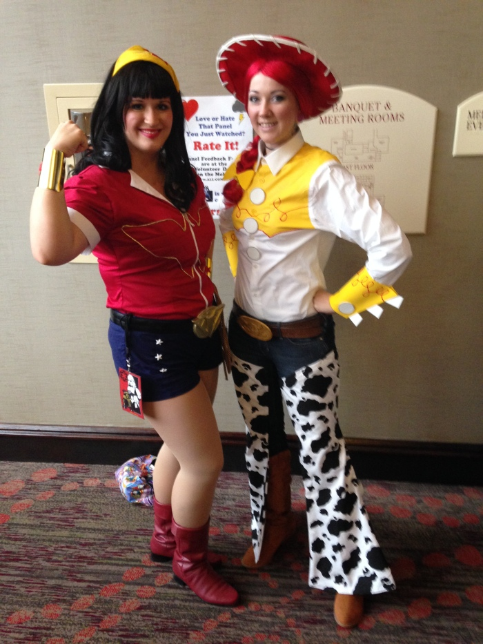 Me as Bombshell Wondie and GlitzyGeekGirl as Jessie from Toy Story 3. Her friend was there as Buzz Lightyear!