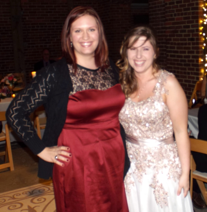 Me and the lovely bride. She made this dress with her mom! It's absolutely stunning.