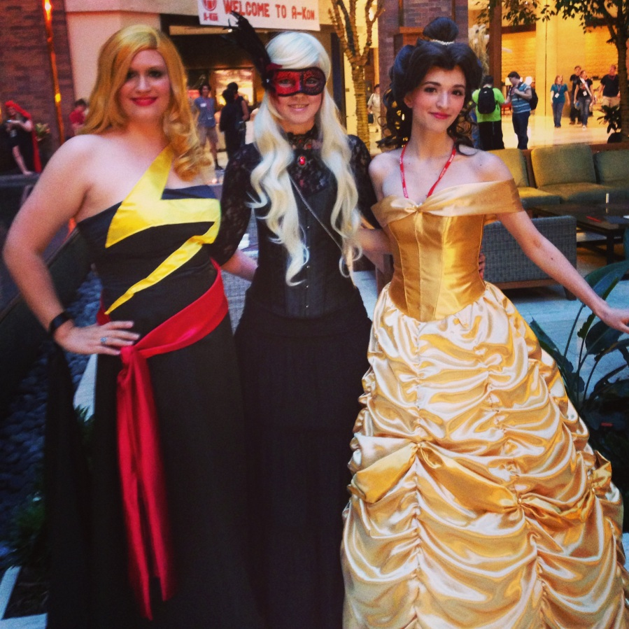 Lovely ladies! With GlitzyGeekGirl and Morgan as Belle.