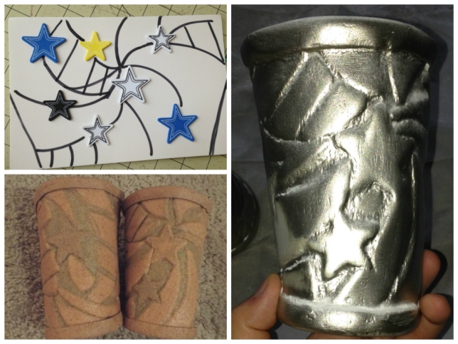 A little WIP collage. Top left: Figuring out placement. Bottom left: After sandwiching the Worbla. Right: After my first layer of silver paint.