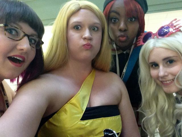 Selfie-con! I changed into my Ms. Marvel gown in the evening and hung out with Liz, Samurai Pizza Kitten, and Mia.