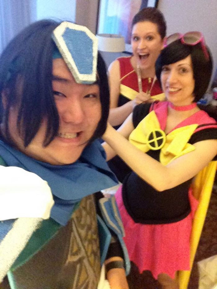 Probably my favorite selfie from A-fest. Cosplay repair assembly line!