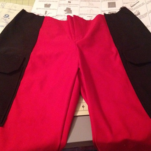 Pants for a Deadpool commission I'm working on. These bad boys are now finished other than the hem.