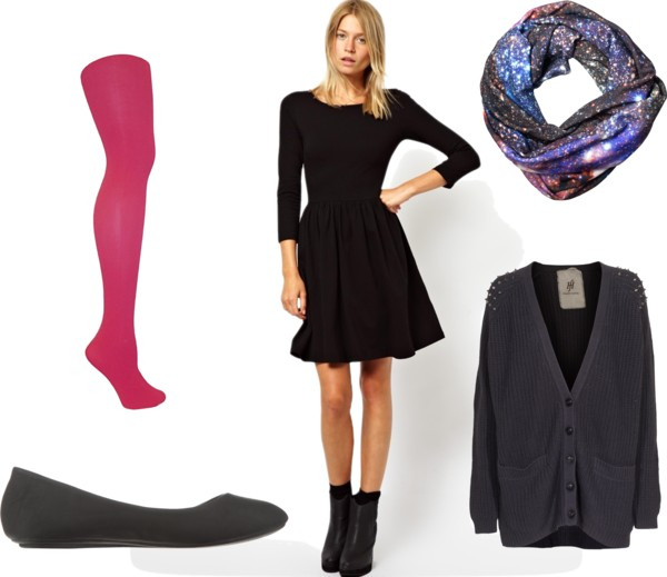 One of my most common daily outfits: skater dress with leggings/tights, ballet flats, and a cardigan!