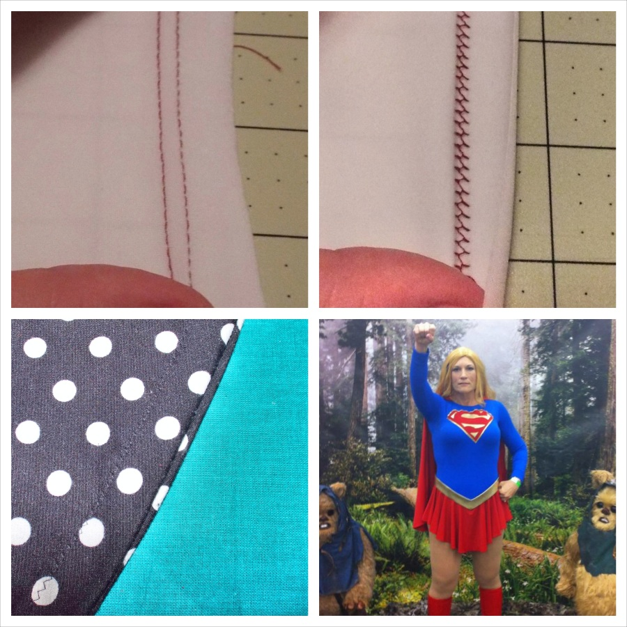 The top two images are the front and back sides of a stitch with a twin needle. The top side is straight and the back has a zigzag to it, which allows the stretch. Bottom left is a basic zigzag, which I used on my Lady Skater. Bottom right is Supergirl. I used bands from my Renfrew to finish the sleeves.