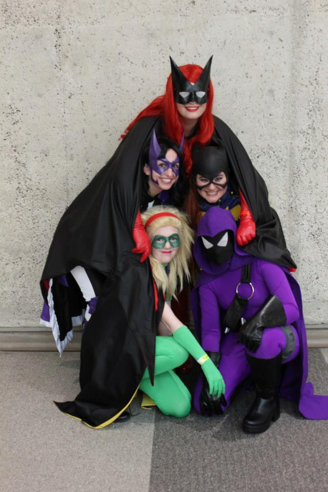 Best running joke leading up to the con. How many Bat-ladies can fit under my cape? Photo by Kristin Bomba.