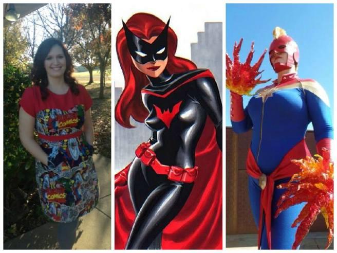 Friday: Geeky dress Saturday: Batwoman Sunday: Captain Marvel